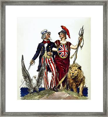 Britannia And Uncle Sam - Friends And Allies  1918 Framed Print by Daniel Hagerman