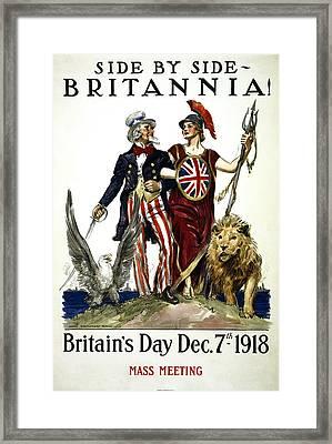 Britannia And United States - W W 1 Solidarity  1918 Framed Print by Daniel Hagerman