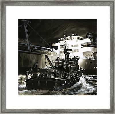 British Coastguard Patrol  Framed Print by Wilf Hardy