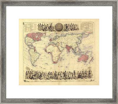 British Empire World Map, 19th Century Framed Print by Library Of Congress