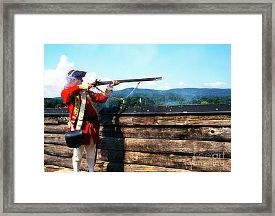 British Soldier Firing Musket Framed Print by Thomas R Fletcher
