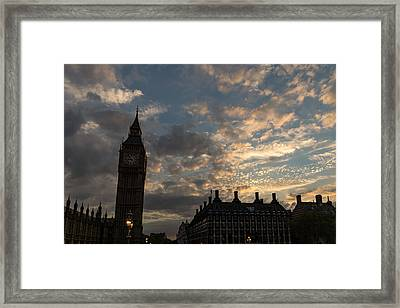 British Symbols And Landmarks - Big Ben 9 Pm Sunset In London England Framed Print by Georgia Mizuleva