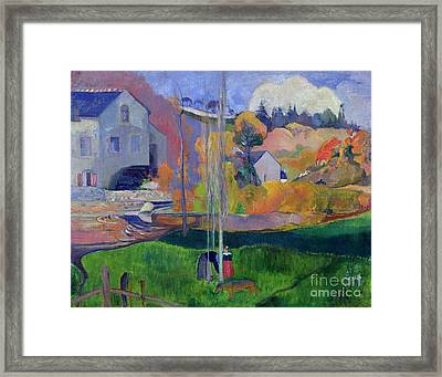 Brittany Landscape Framed Print by Paul Gauguin