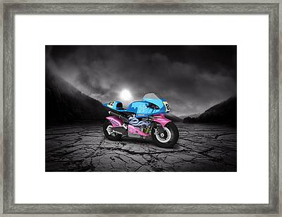 Britten V1000 1995 Mountains Framed Print by Aged Pixel