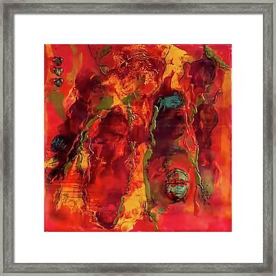 Broken Mask Encaustic Framed Print by Bellesouth Studio