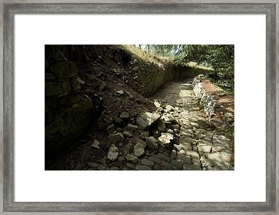 Broken Stone Wall Cascades Stones Framed Print by Todd Gipstein