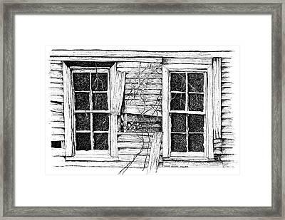 Broken Windows And Vines Framed Print by Dawn Boyer