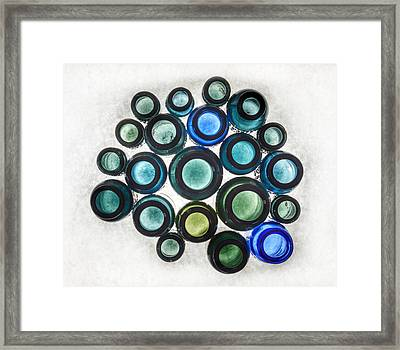 Bromo Seltzer Vintage Glass Bottles Top - Abstract Framed Print by Marianna Mills