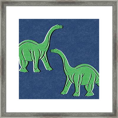 Brontosaurus Framed Print by Linda Woods
