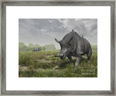Brontotherium Wander The Lush Late Framed Print by Walter Myers