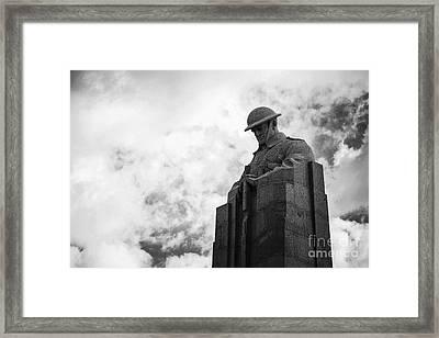 Brooding Soldier St Julien War Memorial Ww1 Canadian Ypres Flanders Belgium Europe Black And White Framed Print by Jon Boyes