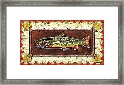 Brook Trout Lodge Framed Print by JQ Licensing
