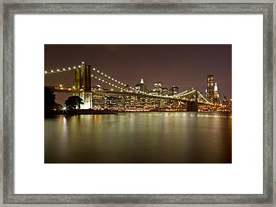 Brooklyn Bridge At Night 10 Framed Print by Val Black Russian Tourchin