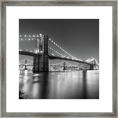 Brooklyn Bridge At Night Framed Print by Adam Garelick