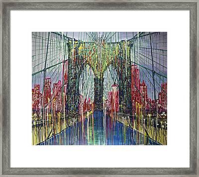 Brooklyn Bridge At Night Framed Print by Jiian Chapoteau