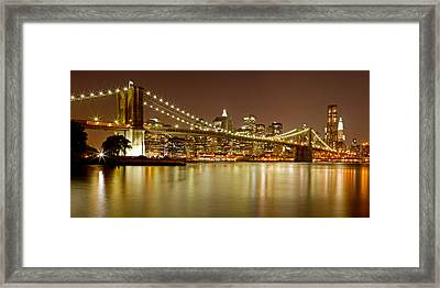Brooklyn Bridge At Night Panorama 10 Framed Print by Val Black Russian Tourchin