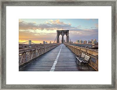 Brooklyn Bridge At Sunrise Framed Print by Anne Strickland Fine Art Photography