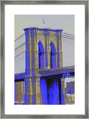 Brooklyn Bridge In Blue Framed Print by Christopher Kirby