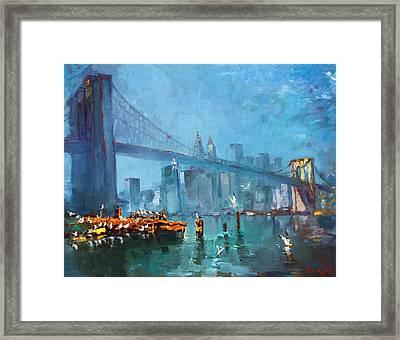 Brooklyn Bridge Framed Print by Ylli Haruni