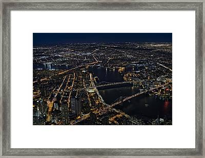 Brooklyn Manhattan And Williamsburg Bridges Aerial View Framed Print by Susan Candelario