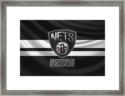Brooklyn Nets - 3 D Badge Over Flag Framed Print by Serge Averbukh