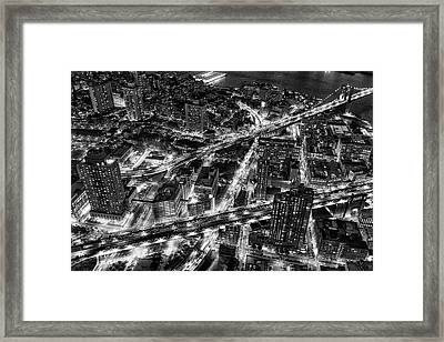 Brooklyn Nyc Infrastructure Bw Framed Print by Susan Candelario