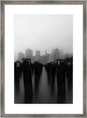 Brooklyn Pilings Framed Print by Jose Vazquez