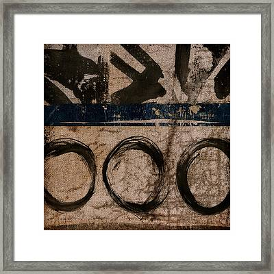 Brown And Blue Vibe Framed Print by Carol Leigh