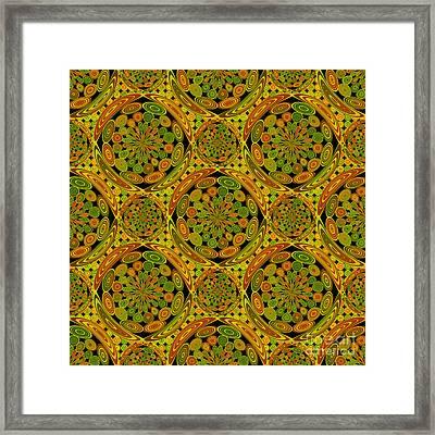 Brown And Green Circles Framed Print by Gaspar Avila