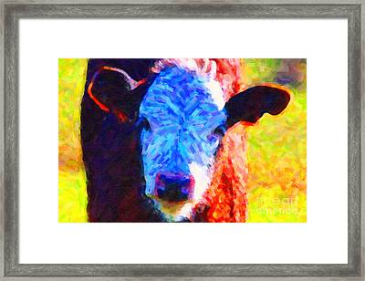 Brown Cow . Painterly Framed Print by Wingsdomain Art and Photography