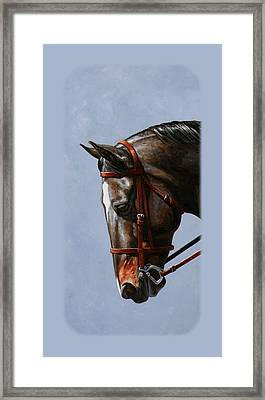 Brown Dressage Horse Phone Case Framed Print by Crista Forest