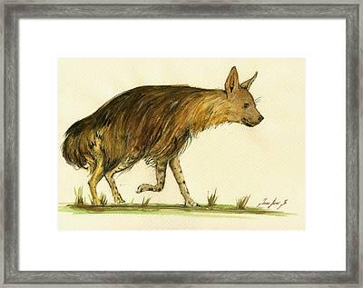 Brown Hyena Animal Art Framed Print by Juan  Bosco