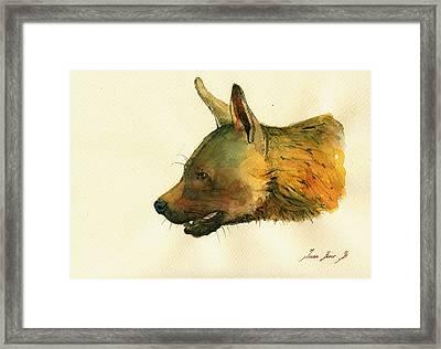 Brown Hyena Framed Print by Juan  Bosco