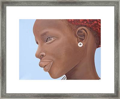 Brown Introspection Framed Print by Kaaria Mucherera