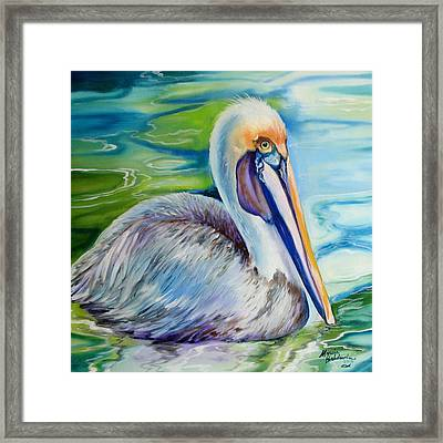 Brown Pelican Of Louisiana Framed Print by Marcia Baldwin