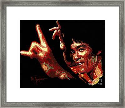 Bruce Lee Framed Print by Maria Arango