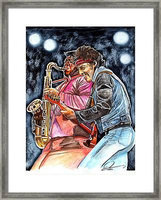 Bruce Springsteen And Clarence Clemons Framed Print by Dave Olsen