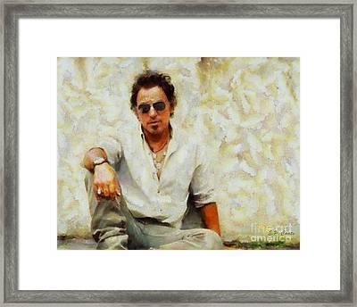 Bruce Springsteen Framed Print by Elizabeth Coats