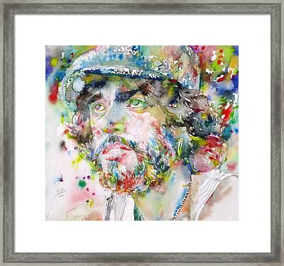 Bruce Springsteen - Watercolor Portrait.3 Framed Print by Fabrizio Cassetta