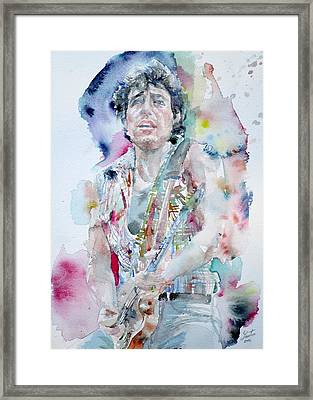 Bruce Springsteen - Watercolor Portrait.5 Framed Print by Fabrizio Cassetta