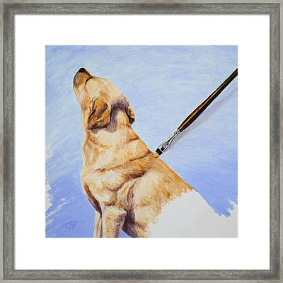 Brushing The Dog Framed Print by Crista Forest