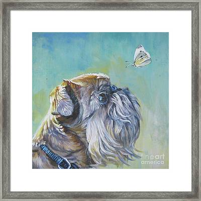 Brussels Griffon With Butterfly Framed Print by Lee Ann Shepard