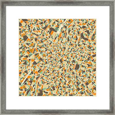 Brussels Map Framed Print by Jazzberry Blue