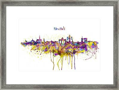 Brussels Skyline Silhouette Framed Print by Marian Voicu
