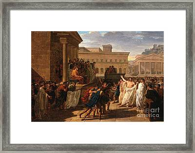 Brutus Listening To The Ambassadors From The Tarquins Framed Print by Celestial Images