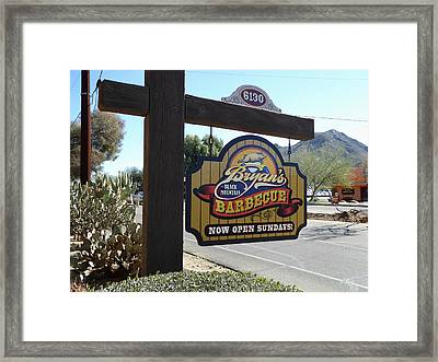Bryan's Black Mountain Barbecue Framed Print by Gordon Beck