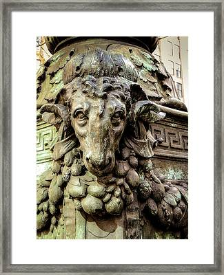 Bryant Park Rams Head Framed Print by Jon Woodhams