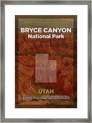 Bryce Canyon National Park In Utah Travel Poster Series Of National Parks Number 06 Framed Print by Design Turnpike