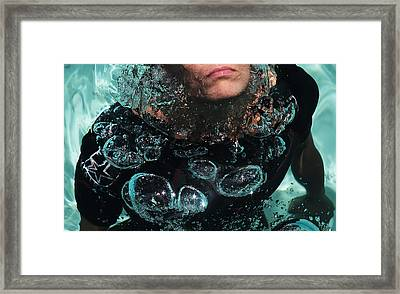 Bubble Maker. Lady Diver Framed Print by Jenny Rainbow