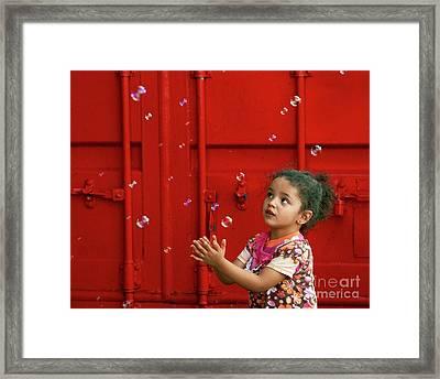 Bubbling Girl Framed Print by Aimelle